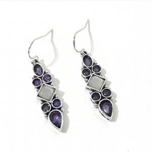 Purple Silver Geometric Drop Dangle Earrings
